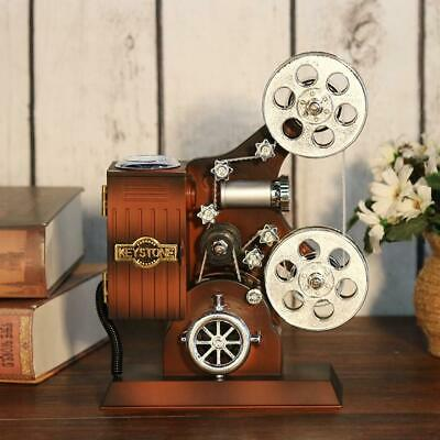 Vintage Retro Wood Metal Projector Model Music Box Antique Musical Jewelry Boxes