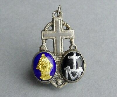 French, Antique Religious Silver Pendant. Virgin Mary. Miraculous Enamel Medal.