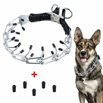 Dog Training Choke Chain Collar Adjustable Prong Pinch With Safty Rubber Caps