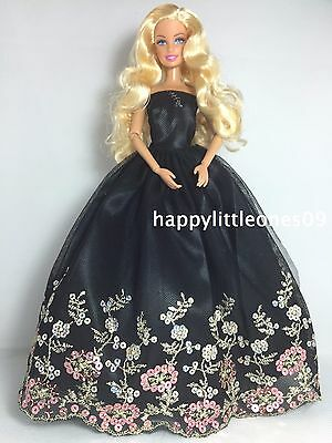 Embroidered Barbie Doll Wedding Party Evening Dress/Clothes/Outfit Black New