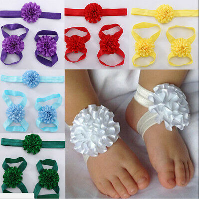 Newborn Baby Girl Kids Infant Headband Foot Flower Elastic Hair Band JDSK