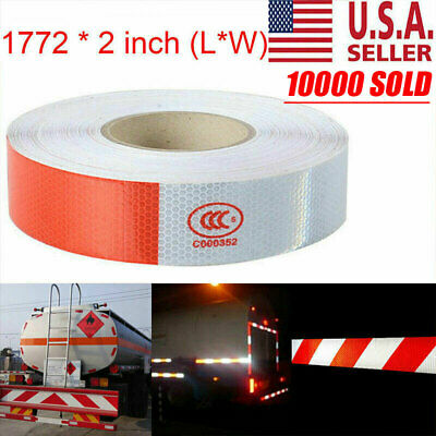 "2""x150  PREMIUM Reflective Red and White Conspicuity Tape Trailer NEW USA"