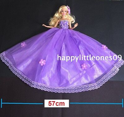 Purple Large Wedding Party Evening Dress/Clothes For Barbie Doll +Veil/Shoes New
