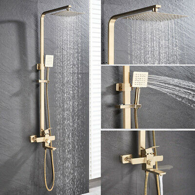 """Brushed Gold 8"""" Square Shower Head Faucet Wall Mount Rainfall Shower Tub Tap Set"""