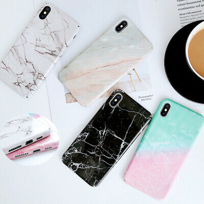 Pastel Marble Pattern Cover Case Hard Shockproof For iPhone Xs Max 8 7 Plus Xr X