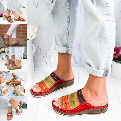 NEW Women Chic Three-color stitching Sandals-OPEN-TOE-WOMEN-SANDALS-SUMMER-2019