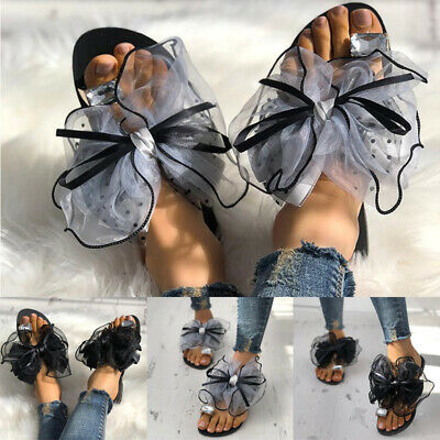 Womens Ladies Flat Diamante Bow Sandals Toe Post Summer Slippers Flip Flop Shoes