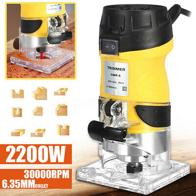 2200W Electric Woodworking 1/4'' Trim Hand Joiners 30000RPM Trimmer Tool