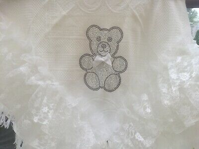 Romany Baby Shawl - White  Lace With Bling Teddy Bear Unisex - Gorgeous!!!