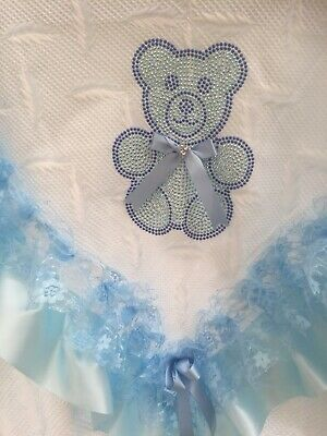 Romany Baby Blue Shawl - Blue Lace/Ribbon With Bling Teddy Design - Gorgeous!!!
