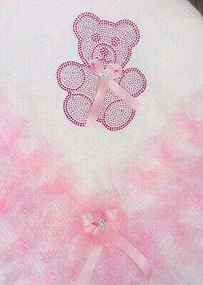 Romany Baby Girl Pink Shawl - Pink Lace With Bling Teddy Bear Design - Gorgeous