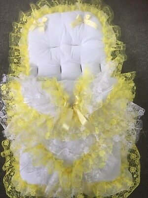 Pram Pushchair Frilly Lemon/Yellow Bling Cosytoes Footmuff - Romany