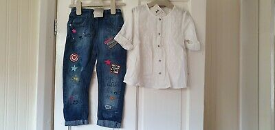 BNWT Next Girls Tunic top & Embriodered Jeans Summer outfit 3-4 Years 4 yrs