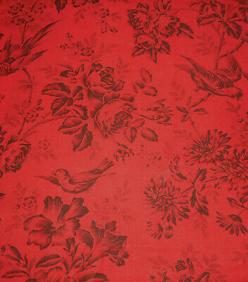 Antique 19thc French Botanical Bird Floral Fabric ~ Red Black