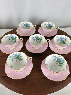 Vintage Royal Albert Bone China Pink Floral 7 Cups and Saucers  #WH-5