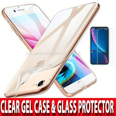 360 Case For iPhone 7 & 8 Ultra Slim Clear Gel Cover & Glass Screen Protector