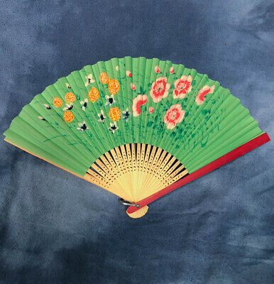 Vintage Paper and Bamboo Folding Hand Fan, Painted Asian Design