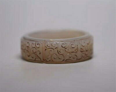 "2.17""Collect Chinese natural Hetian Nephrite jade Hand carved pattern Bracelet"