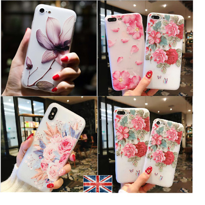 Hybrid Shockproof Flower Floral Silicone Case Cover For iPhone 6s 7 8 Plus XS XR