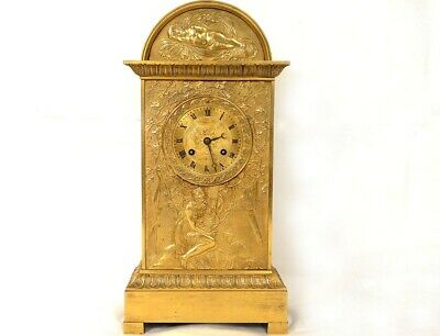 Pendulum Terminal Bronze Golden Woman Dog Angel Legras Clock I Empire Xixè