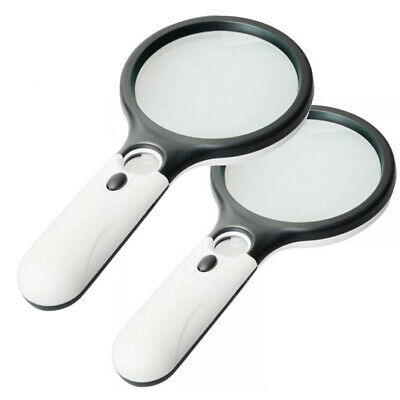 2 Pack LED Light 45X Handheld Magnifier Reading Magnifying Glass Jewelry Loupe