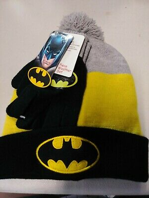 dac570a66 BATMAN KID'S BEANIE Cuffed Pom Knit Hat and Gloves 2 Pc-Set Boys One ...
