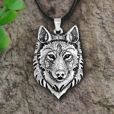 Tibetan Silver Wolf Head Pendant Necklace Amulet Animal Viking Gift Jewelry DR