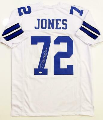 Ed 'Too Tall' Jones Autographed White Pro Style Jersey- JSA Witnessed Auth *7