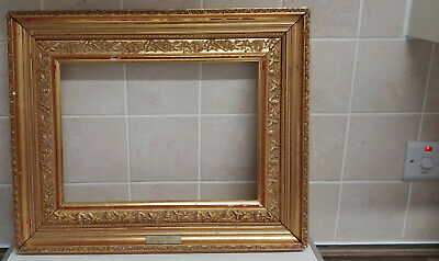 Antique Vintage Ornate Wood and Gesso Gilded Picture Canvas Frame – Empty