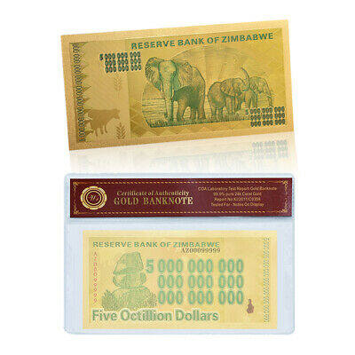 WR Gold Zimbabwe 5 Octillion Dollars Banknotes Zimbabwe Bill Money In Sleeve