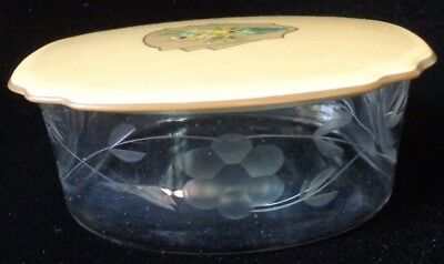 Vintage Etched Glass Vanity Powder Box With Art Deco Lid ~ FREE SHIPPING
