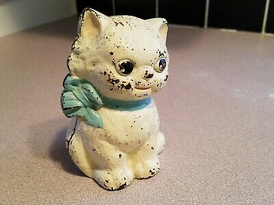 Antique 1930's Hubley Cast Iron Kitten Bank With Blue Ribbon - Free Shipping!!
