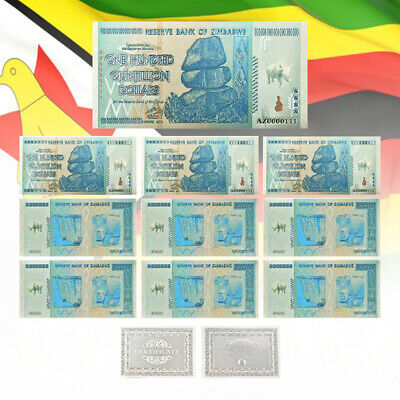 WR 10pcs New Zimbabwe 100 Quintillion Silver Banknote Z$100 Bill Money Set COA