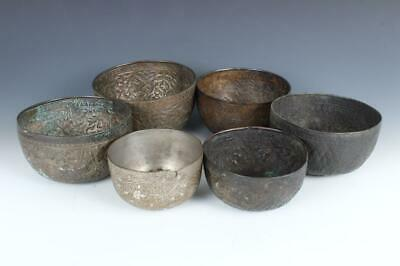 6 Antique Chased Thai Monk Bowls