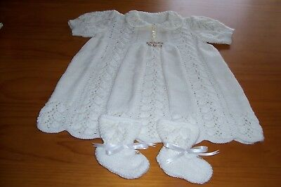 Ivory Acrylic  Lace Pattern Dress ,And Bootee's (Hand Knitted)