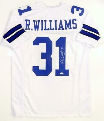 Roy Williams Autographed White Pro Style Jersey- JSA Witnessed Auth *Silver