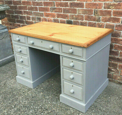 A Pretty Victorian Pine French Linen Painted Ladies Writing Desk With 9 Drawers.