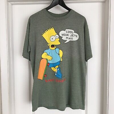 VTG 90s Bart Simpson COOL YOUR JETS T Shirt L Bootleg Groening Skate TV Simpsons