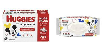 HUGGIES Simply Clean Fragrance-free Baby Wipes, Soft Pack (11-Pack, 704 Count