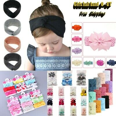 Kids Girls Baby Headbands Solid Bowknot Hair Accessories Infant Tighten Band