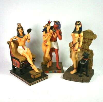 EGYPTIAN NUDE STATUE CLEOPATRA Pharaoh THRONE Panther VERONESE 2001 3 lot