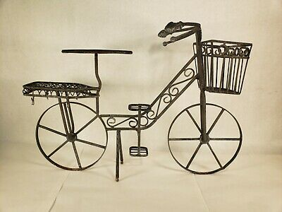 Vintage Bicycle Wrought Iron Plant Stand Flower Decor Holder Metal Garden Home
