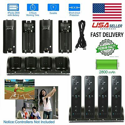 Black 4x Rechargeable Batteries +Charger Dock For Nintendo Wii Remote Controller