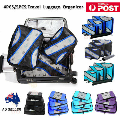 4/5PCS Packing Cube Pouch Travel Clothes Suitcase Storage Bags Luggage Organizer
