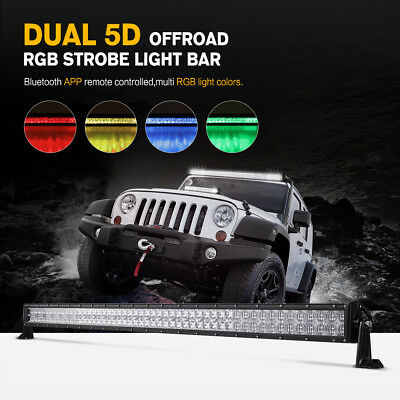 52 700w Led Light Bar Diy Multi Color App Offroad Suv Utv