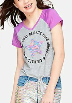 Justice Girl/'s Size 18-20 PARIS Flip Sequin Destination Tee New with Tags