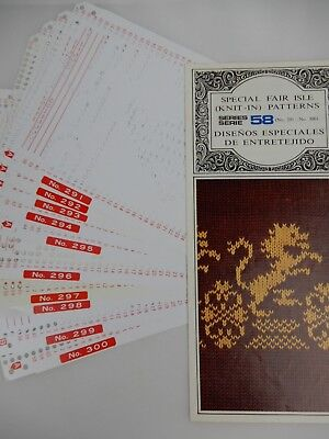 Special Fair Isle (Knit-In) Patterns Series 58 (291-300) Knitting Machine Cards