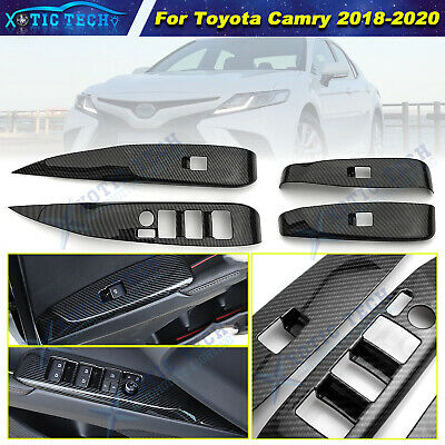 For Toyota Camry 2018 2019 Carbon Fiber ABS Window Lift Switch Button Panel Trim