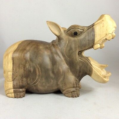 "Hippo Carved From Gray Hibiscus Wood With Excellent Details.7 Inches W By 5""T ."