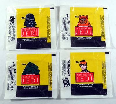 Star Wars Jedi (ROTJ S1) - 4x Wax Pack Card Wrapper SET - 1983 Topps NO TEARS !!